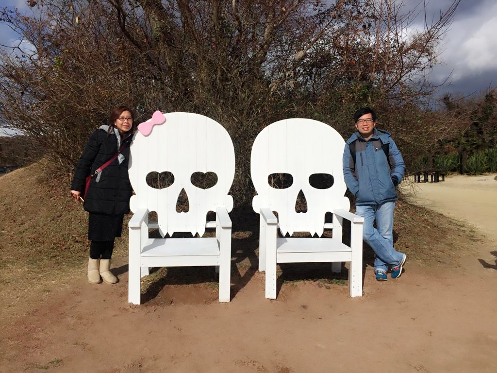 Family photos in EcoLand Jeju skeleton chairs