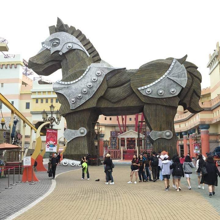 Family Travels EDA Park Kaohsiung trojan horse statue
