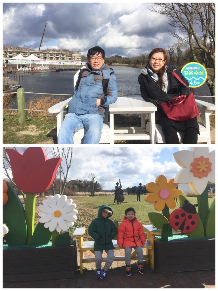 Family photos in Ecoland Jeju decorations