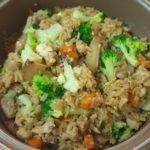 Steam rice with chicken & mix vegetable